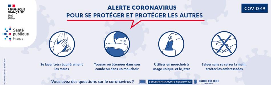 Télécharger l'affiche «Pour se protéger et protéger les autres» de Santé publique France.