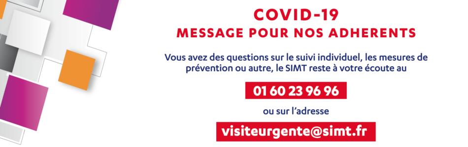 MESSAGE POUR NOS ADHÉRENTS Vous avez des questions sur le suivi individuel, les mesures de prévention ou autre : le SIMT reste à votre écoute au 01 60 23 96 […]