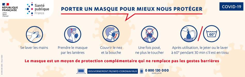 Télécharger l'affiche «Porter un masque pour mieux nous protéger» de Santé publique France.