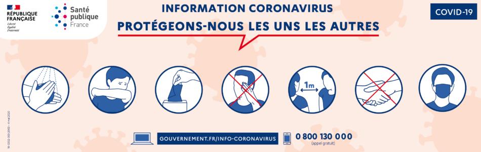 Télécharger l'affiche «Protégeons-nous les uns les autres» de Santé publique France.