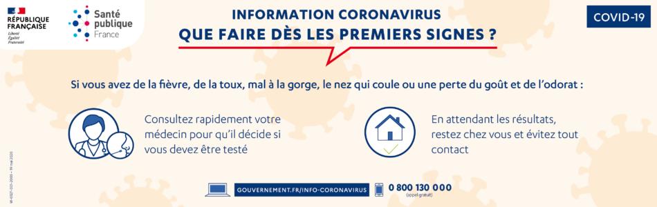 Télécharger l'affiche «Que faire dès les premiers signes ?» de Santé publique France.